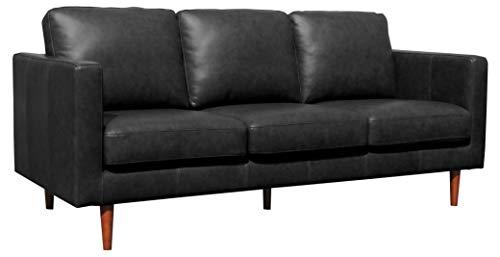 "Amazon Brand – Rivet Revolve Modern Leather Sofa Couch, 80""W, Black"