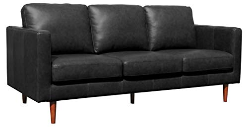 "Rivet Revolve Modern Leather Sofa Couch, 80""W, Black"
