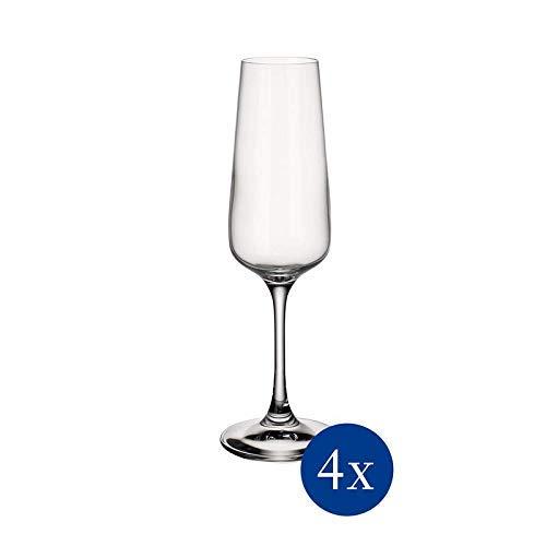 Villeroy & Boch Ovid Flûte Bicchiere da Champagne, 250 ml, Cristallo, Set 4 Pezzi