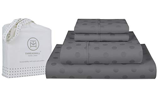 300-Thread-Count Jacquard Best 100% Cotton Sheets & Pillowcases Set - 4 Piece Extra-Long Staple Combed Cotton Sateen King Size Sheets for Luxury Bedding with Deep Pocket, Dark Grey