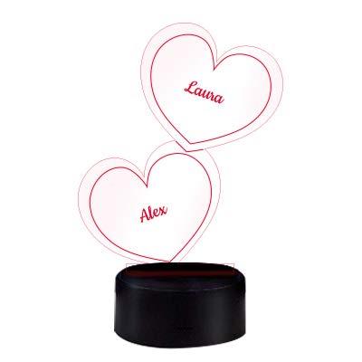 Herz-Leuchte mit Namensgravur | romantisches LED-Herz mit Namen und Farb-Lichtern als Partnergeschenk | 7 Farben