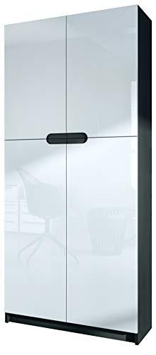 Vladon Büroschrank Aktenschrank Büromöbel Logan, Korpus in Schwarz matt/Fronten in Weiß Hochglanz