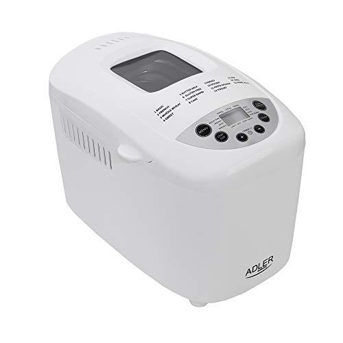 Adler 5908256839755 panificadora, 0 W, 0 Decibelios, Acero, blanco