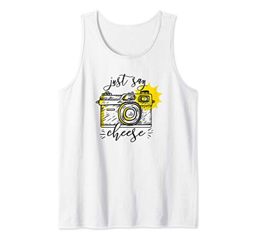 JUST SAY CHEESE Illustrated Camera Photographer Meme Gift Tank Top
