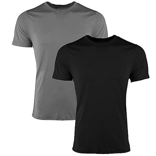 Reebok Men's Performance Short-Sleeve Crew Tee T-Shirt, 2 Pack (Black/Gray, L)