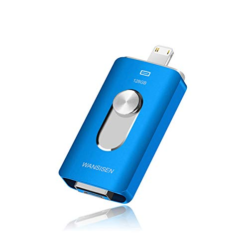 USB Thumb Drives 128GB for iPhone Flash Drive iPad Photo Stick 3in1 iOS Memory Stick Wansisen Compatible iPhone/iPad/iPod/MacBook/Android/PC/iOS External Drive(Blue128G02D)