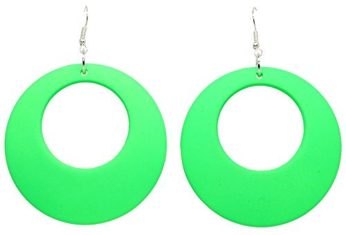 Bluebubble DISCO FEVER Large Round Neon Hoop Earrings - 32 Colours Available (Festival Green) Gift Boxed