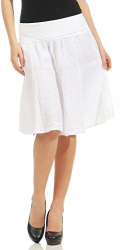 malito dames linnen rok met stretch tailleband | ingetogen klok jurk | Zomerrok in effen kleuren | Minirok - Rok 1580
