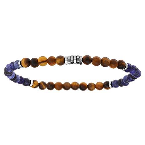 Heure & Minutes H121M819 - Pulsera de acero con bolas de ojo de tigre, cuarzo azul y marrón