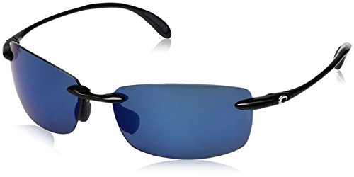 Costa Del Mar Men's Ballast Polarized Rectangular Sunglasses, Shiny Black/Grey Blue Mirrored Polarized-580P, 60 mm 0