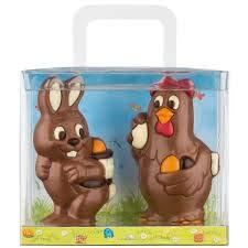 Weibler Confiserie 2 figuras de Pascua en chocolate con leche: conejo y gallina - 1 x 150 gramos