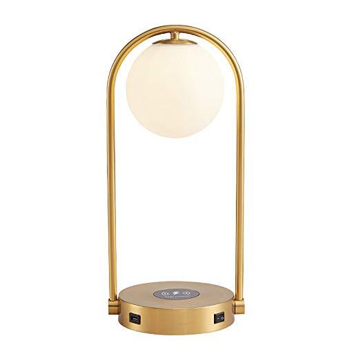 Yjdr Carga Inalámbrica USB Lámpara De Mesa Moderna Moderna Lámpara De Noche Nórdica Americana Lámpara De Mesa Sala De Estar Dormitorio De Noche Mesa Creativa 205 * 445 Mm