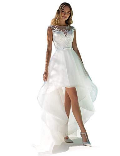 Cloverbridal Damen Spitze Hochzeitskleider Standesamt Hinten Lang Vorne Kurz Boho Böhmischen Brautkleider Strand Elegante Brautmode Festkleider Weiß 40