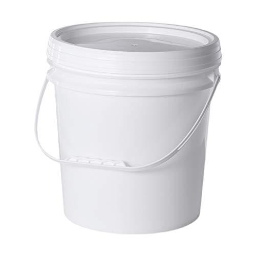MNSSRN Cubo de Mano plástico de Grado alimenticio, Cubo de Almacenamiento Redondo, Tanque de Almacenamiento de Helados para el hogar con Tapa, Cubo Espesado del hogar, Cubo de Material,Blanco,18L