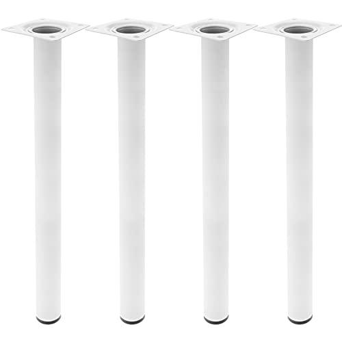 PrimeMatik - Pies Redondos para Mesa y Mueble. Patas en Acero Blancas de 75cm 4-Pack