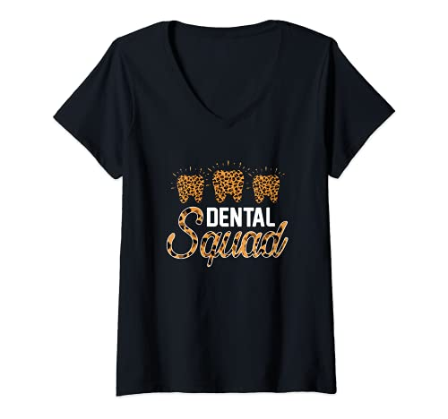 Mujer Escuadrn Dental Disfraz Asistente Dental Mujeres Camiseta Cuello V