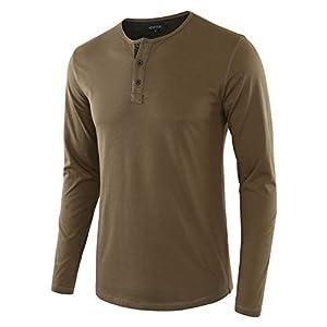 Men's Classic Henley T-Shirt Comfort Soft Regular Fit Long Sleeve Tee