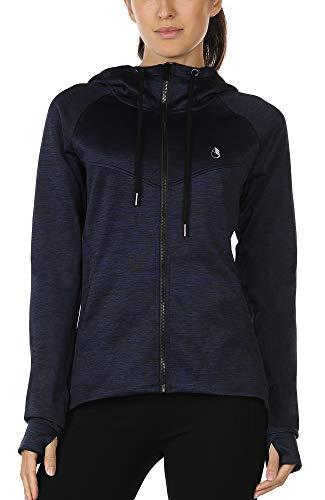 icyzone Damen Laufjacke Trainingsjacke mit Kapuze - Fitness Sweatshirt voll Zip atmungsaktiv Sport Jacke Langarm Shirt im Winter (S, Dunkel Blau)