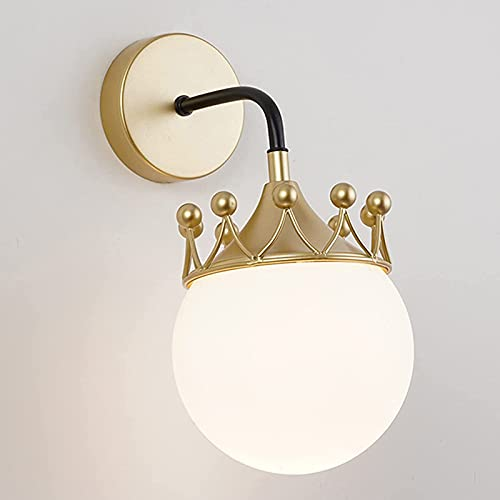 Lámpara De Pared Para Habitación De Niños Apliques De Pared De Corona Creativa Para Dormitorio Lámparas Para Niños De Dibujos Animados Redondos Lámpara De Cabecera Pantalla De Cristal Enchufe E27