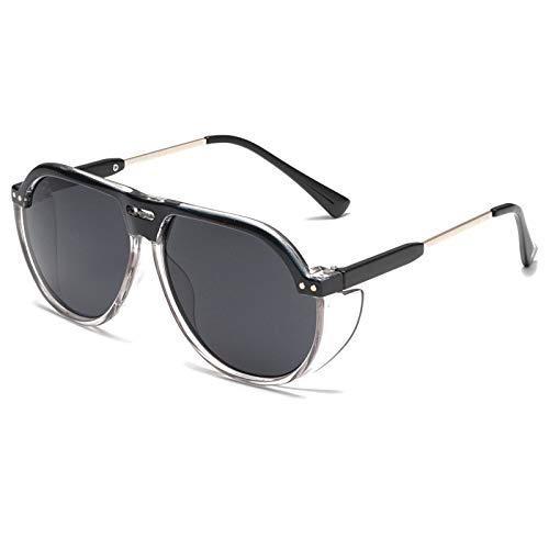 QINGZHOU Gafas de Sol,Gafas de sol de montura grande de moda, gafas de sol de doble haz con personalidad, gafas de sol unisex, montura gris transparente lente gris negra