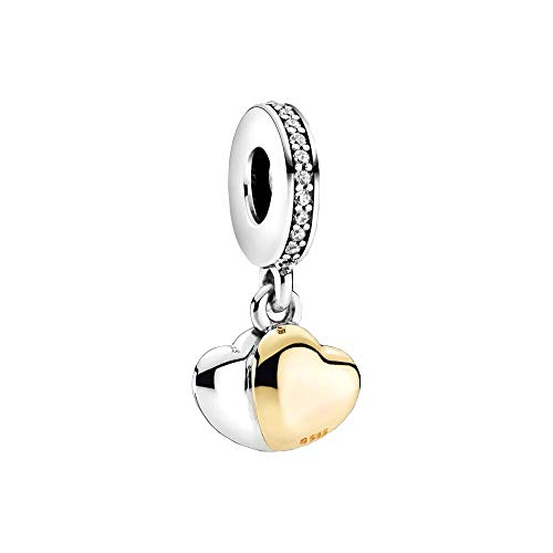 Pandora Bicolor Doppelherz Charm-Anhänger Sterling-Silber/ 14 Karat Gold 4 x 7,5 x 10 mm (T/H/B)