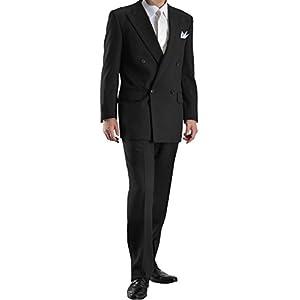 4ツボタン ダブル フォーマルスーツ ウエスト調整アジャスター付 メンズ ブラックスーツ 礼服 喪服 パンツウォッシャブル A-7号FW8200-10-A7