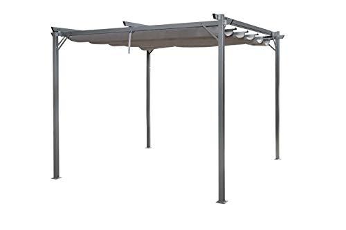 Enrico Coveri Garden Gazebo Pergola Grigio 3 x 4 Metri con Struttura in Acciaio, Perfetto per Arredo Giardino, Terrazzo, Esterno, Bar e Hotel (3 x 4 Metri)