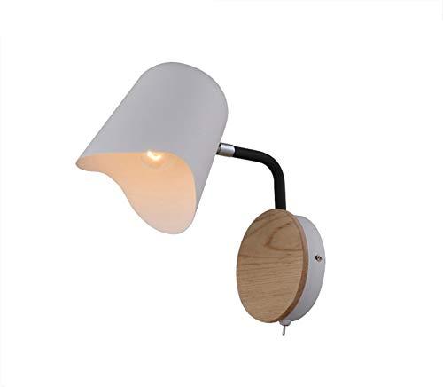 Lámpara de pared Lámpara de pared blanca negra de la cabecera E27 Sponces Modern Aisle Mirror Luz frontal Lámpara de pared Nordic con interruptor Apliques de Pared (Color Temperature : Warm white)