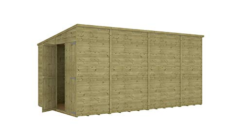 Project Timber 14 x 8 Pressure Treated Hobbyist Extra Tall Pent Windowless Garden Shed Doors in Gable with OSB Floor 4.26m x 2.43m