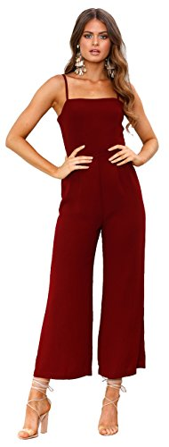 Longwu Mujeres sin Tirantes de la Correa de Espagueti Jumpsuit Moda de Pierna Ancha Pantalones de Cintura Alta Rompers Vino Rojo-S