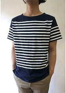 フランスタイプ ボーダーシャツ 半袖 3色 JT043YN ホワイト×ネイビー L 【レプリカ】