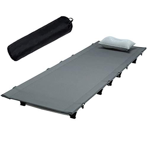 LOY Cama Individual Plegable Interior/Exterior - Cuna Plegable portátil con Almohada y Bolsa de Almacenamiento, Catre de Aluminio Ultraligera para el hogar de Oficina de Camping