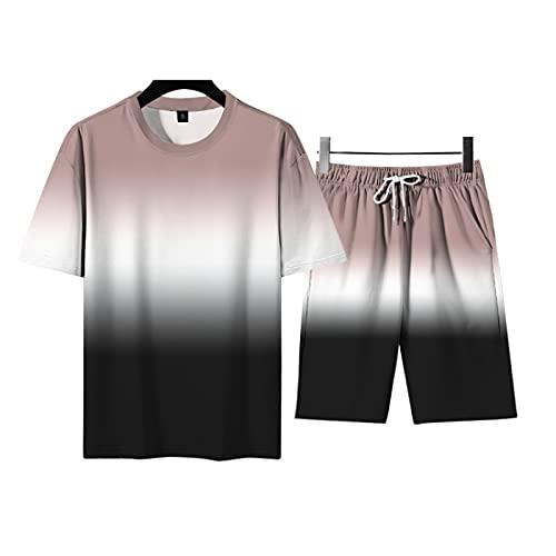EMPERSTAR Conjuntos De Camisetas Y Pantalones Cortos para Hombre Impresos En 3D Conjunto De Traje Deportivo De CháNdal Corto Conjunto Traje Caqui 4XL