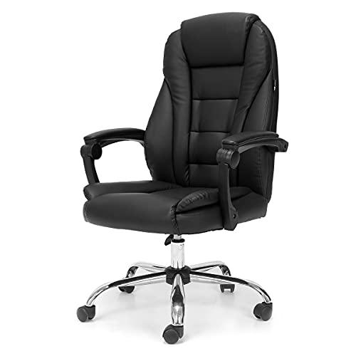 Hbada Bürostuhl Chefsessel Drehstuhl Schreibtischstuhl ergonomischer Computerstuhl Kunstleder Schwarz
