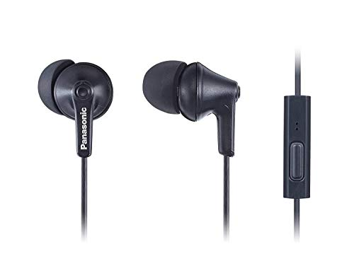 Panasonic ErgoFit Earbud Headphones with Microphone and Call Controller Compatible with IPhone, Android and Blackberry - RP-TCM125-KA - In-Ear (Matte Black)