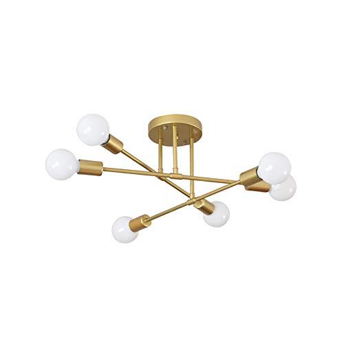 6 Cabezas Sputnik Lámpara Colgante Modernas Hierro Industrial Lámpara De Araña Japonés Simple Lámpara Colgante Oro Lámpara De Techo Para Sala De Estar-Dorado 70x20cm(28x8inch)