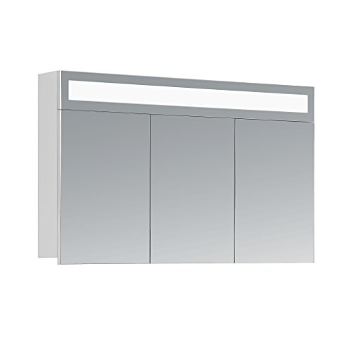 HAPA Design Spiegelschrank Miami weiß mit LED Beleuchtung in Lichtfarbe 4500K, VDE Steckdose, Softclose Funktion und verstellbaren Glas Ablagen. Komplett vormontiert. SGS geprüft. (100 x 60 x 14 cm)
