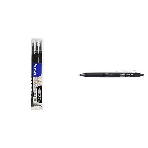 Pilot BLS-FR7-B-S3 - Recambio Frixion, color negro, medio + Pen Frixion Clicker - Bolígrafo roller de tinta borrable, color negro