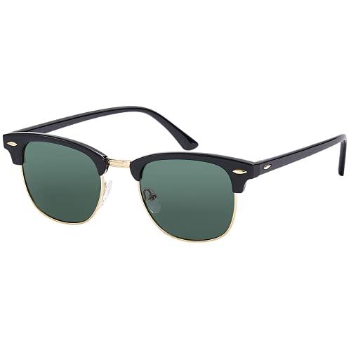EFE Gafas de sol polarizadas mujer hombre unisex polaroid gafas Retro y Moda ligeros comodos protección UV400 redondas para Pesca Senderismo Conducir Excursión Running verde
