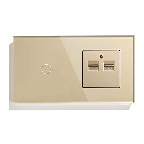 BSEED Interruptor tactil con USB Oro,1 Gang 1 Vía interruptores de luz pared con 3.1A Doble USB 100-240V,interruptores de luz pared con con panel de vidrio templado
