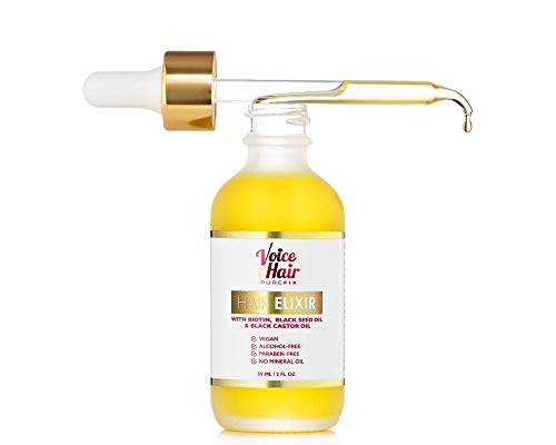 Voice of Hair PureFix Hair Elixir with Biotin, Black Seed Oil and Black Castor Oil and Hair Growth Oil| Vegan| Paraben Free| No Mineral Oil| Alcohol-Free Hair Oil … (2oz)