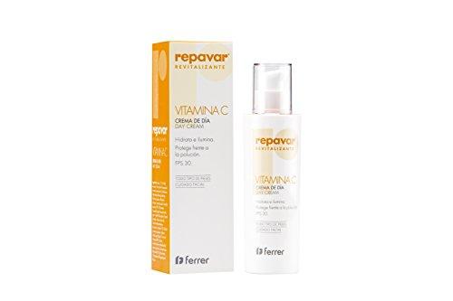 Repavar Revitalizante - Crema Facial de Día con Vitamina C, Hidratante, Iluminadora y Protege frente a la Contaminación, con FPS 30 y para Todo Tipo de Pieles - 50 ml