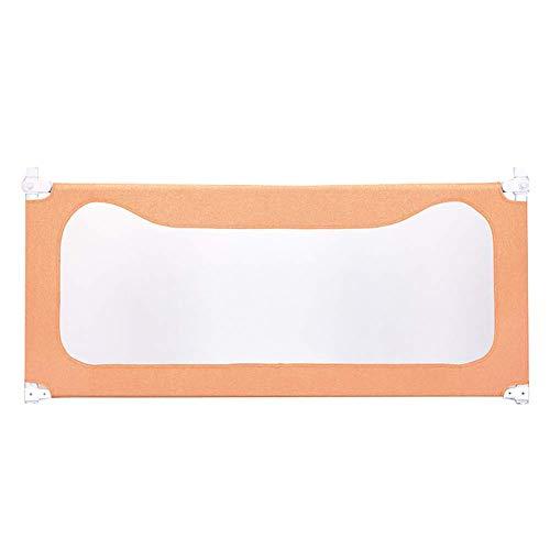 Baby Laufstall Spielzaun Metallbett Sicherheitsschutz für Kinder Kleinkinder, verstellbare Bettgitter für Jungen Mädchen, Orange Bettzaun für Zwei Einzelbetten extra lang (Größe: 1,5 m)