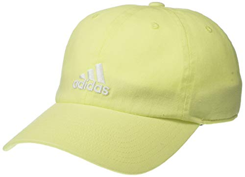 adidas Women's Saturday Relaxed Adjustable Cap, Yellow Tint/White, ONE SIZE
