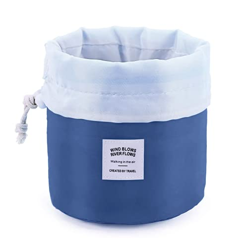 Travel Cosmetic Bags Barrel Makeup Bag,Women&Girls Portable Foldable Cases,EUOW Multifunctional Toiletry Bucket Bags Round Organizer Storage Pocket Soft Collapsible(Deepblue)