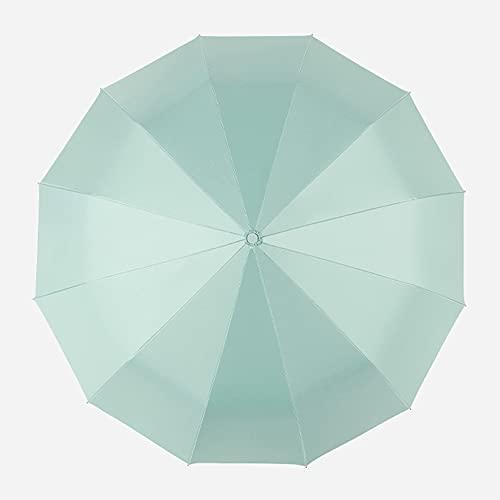 Cian tierno,Paraguas, paraguas a prueba de viento de apertura y cierre automático de 12 varillas, compacto e irrompible, paraguas de viaje impermeable, paraguas portátil con mango ergonómico