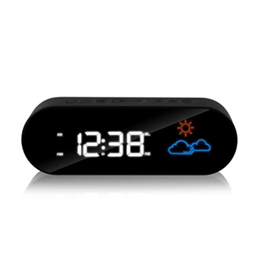 MingXinJia Nachtkastjes Voor Thuis Led Digitale Wekker Stille Bureauklok, Weersvoorspelling Radiowekker, Led Digitale Elektronische Nachtkastklok