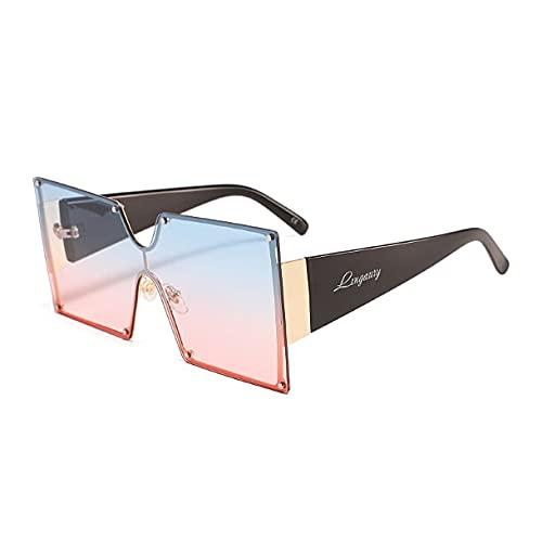 Lingaury Colección moderna de gafas de sol de gran tamaño para mujer - Gafas de sol cuadradas de estilo contemporáneo con protección UV400 con almohadillas para la nariz - Morado / Morado