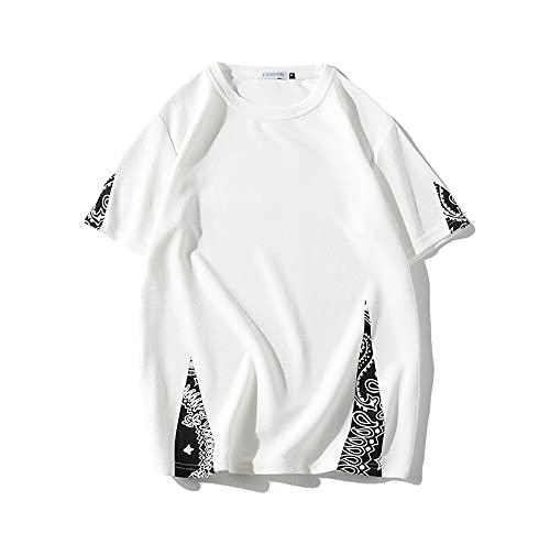 T-Shirt Verano Hombre Transpirable Cuello Redondo Manga Corta Hombre Shirt Estilo Hip-Hop Personalidad Tendencia Impresión Informal Hombre Shirt Diseño Moda Hombre Ropa De Calle A-White XXL