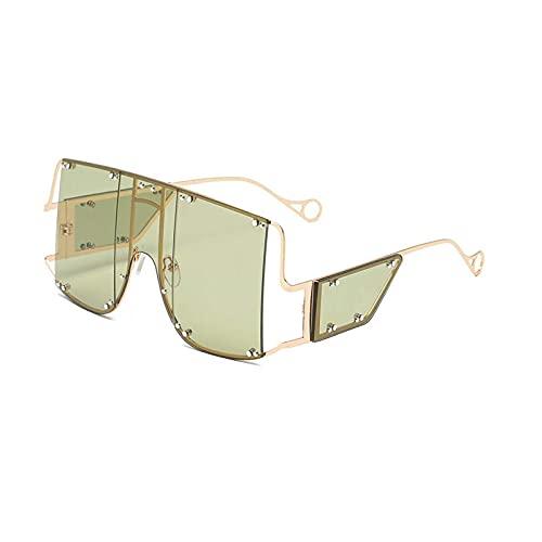 HHZ Las Gafas de Sol rectangulares polarizadas de Las señoras, Gafas de Sol de Marco Grande de Metal, Gafas de Sol clásicas Anti-UV, Verde